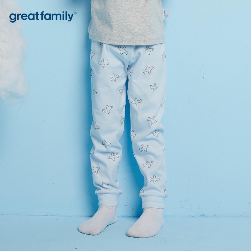 歌瑞家A类双面布男童蓝色家居长裤