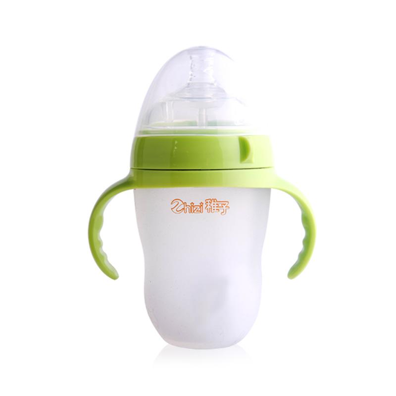 Zhizi稚子 超宽口径食品级硅胶奶瓶仿母乳断奶瓶250mL