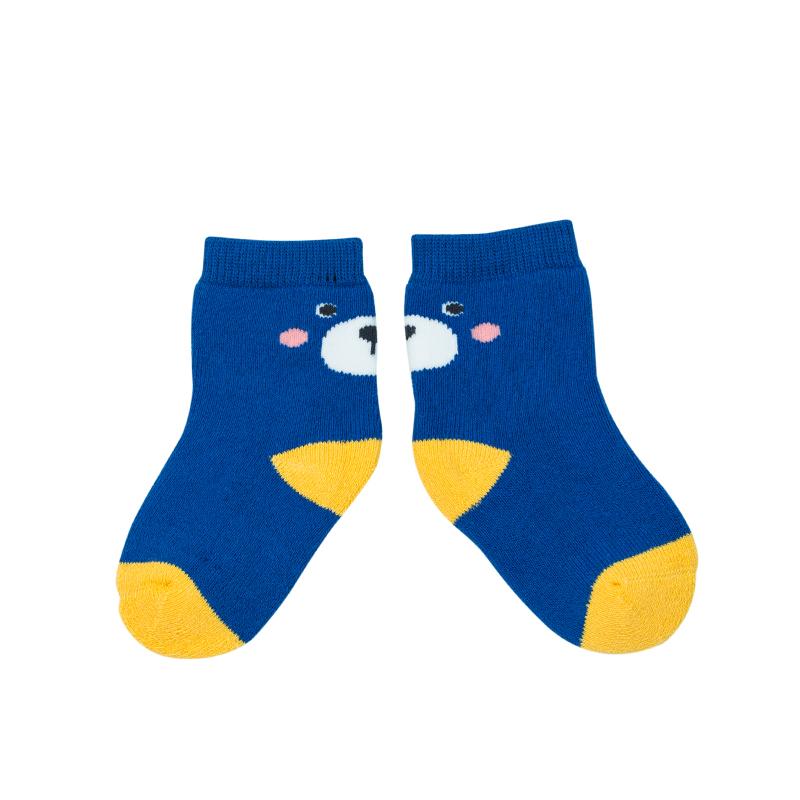 歌瑞家A类男童蓝色中筒针织袜