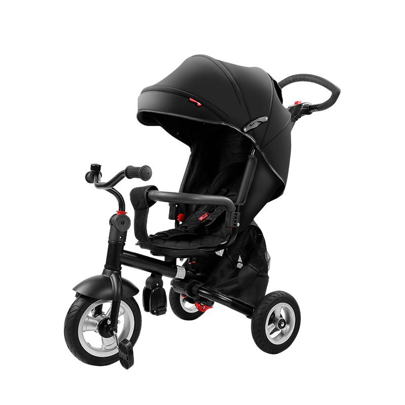 pouch三轮车手推车脚踏车溜娃神 器儿童自行车推车婴儿伞车 黑色