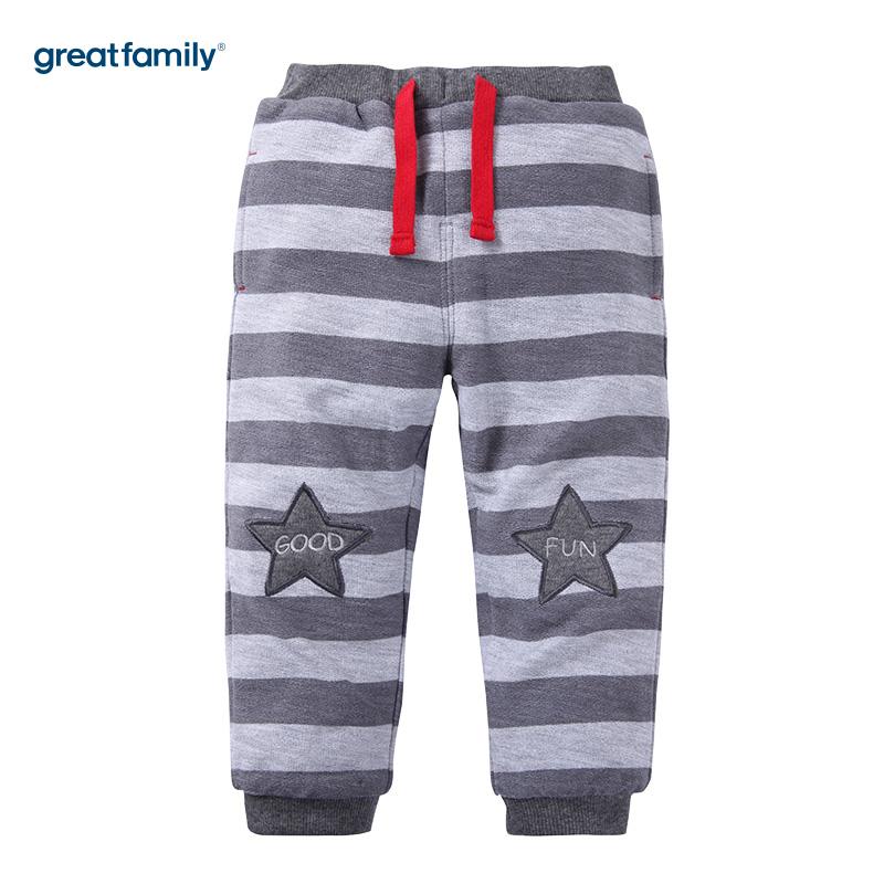 歌瑞家(Greatfamily)A类男宝宝灰色条纹针织夹库/卫裤