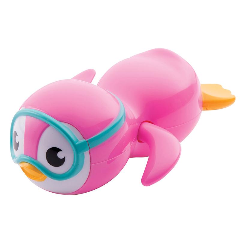 满趣健自由泳小企鹅洗澡玩具婴儿戏水玩具宝宝玩水玩具浴室儿童玩具MK44925粉色
