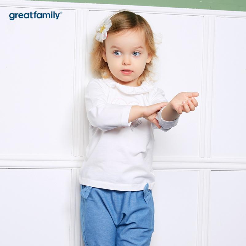 歌瑞家(婴外)A类萌动精灵白色女花边领T恤