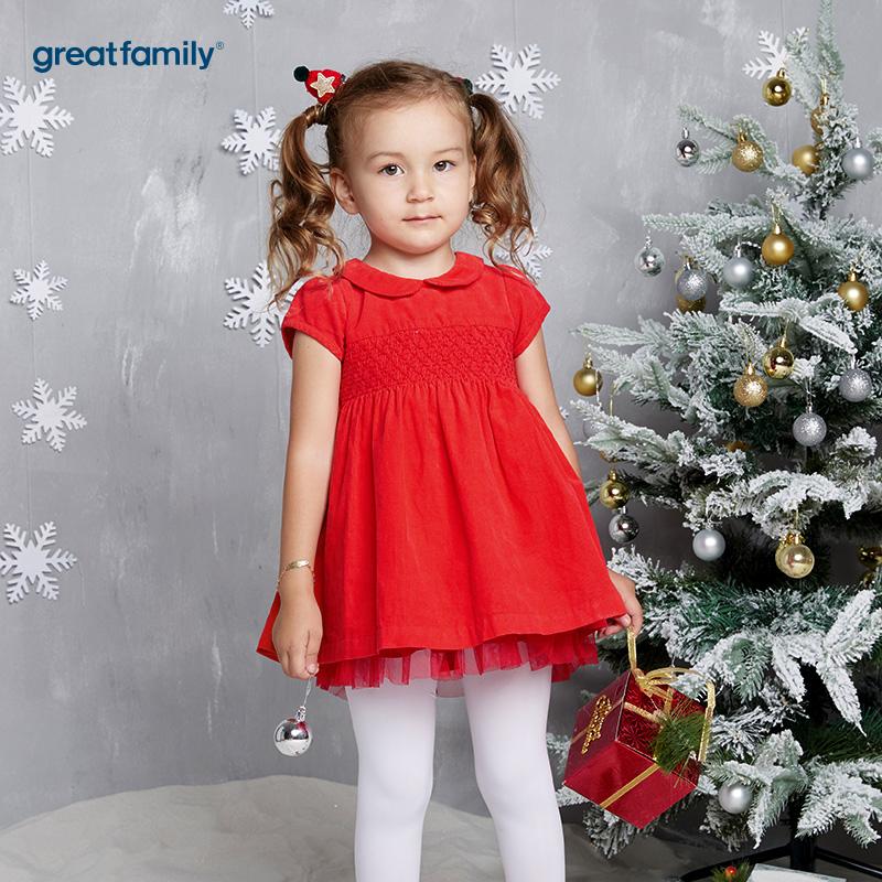 歌瑞家(Greatfamily)A类女宝宝红色圣诞系列细条绒花边连衣裙