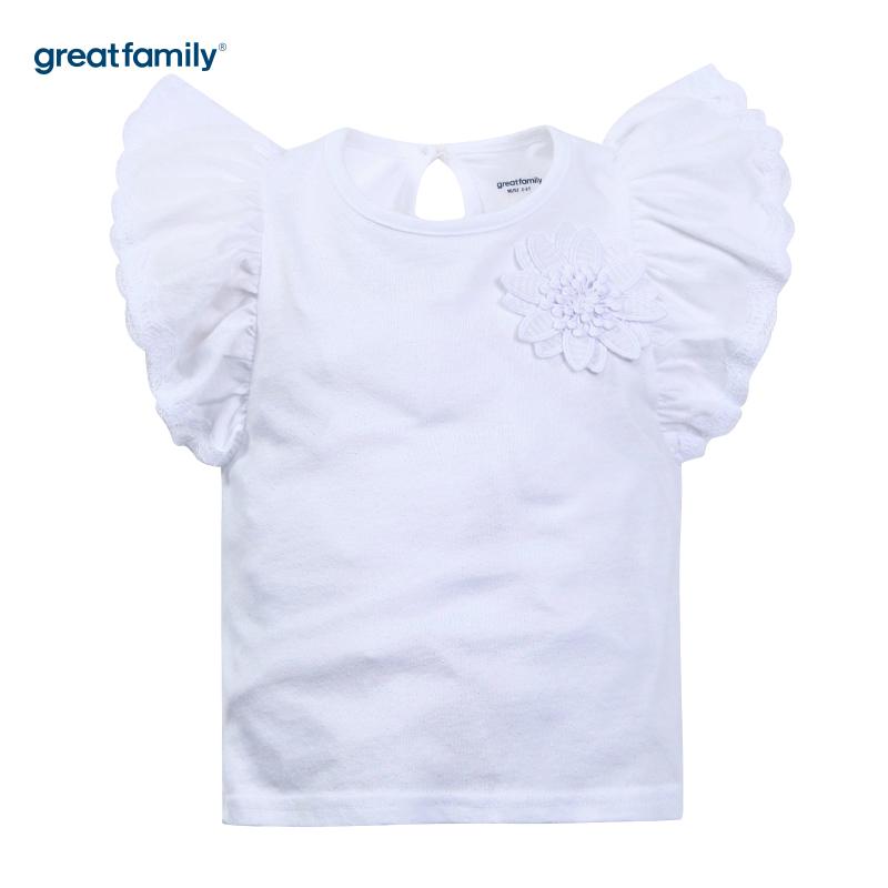 歌瑞家A类萌动精灵白色女飞袖T恤