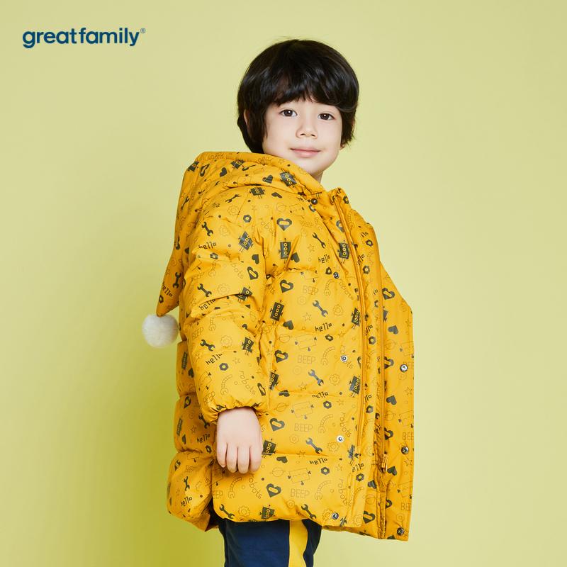 歌瑞家A类男童黄中长款羽绒服