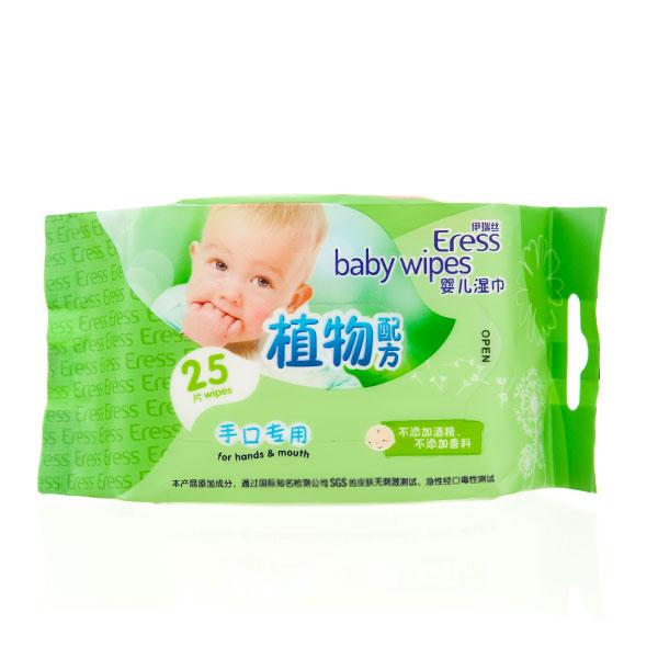 伊瑞丝Eress婴儿手口湿巾25片植物配方不添加酒精香料柔暖厚实