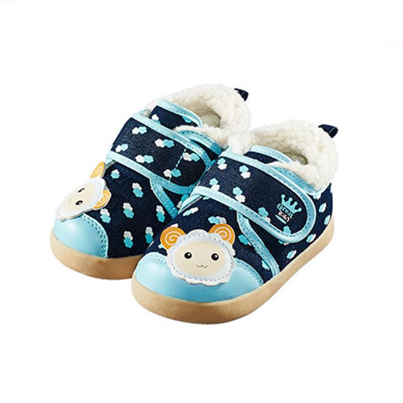歌瑞贝儿(新)--可爱羊保暖婴儿鞋GB144-043SH蓝13.5CM