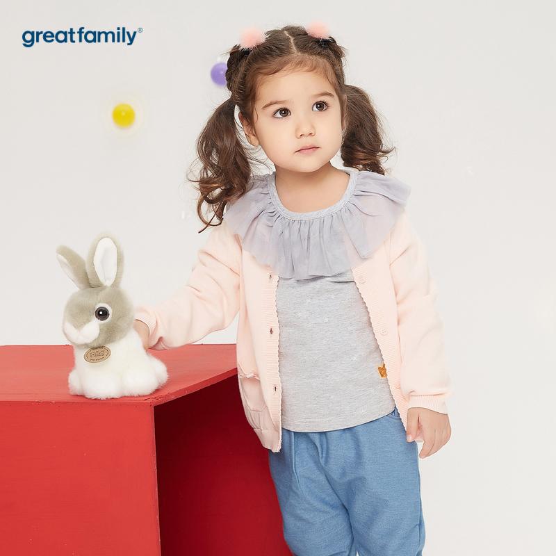 歌瑞家A类萌动精灵粉色女小兔线衫外套