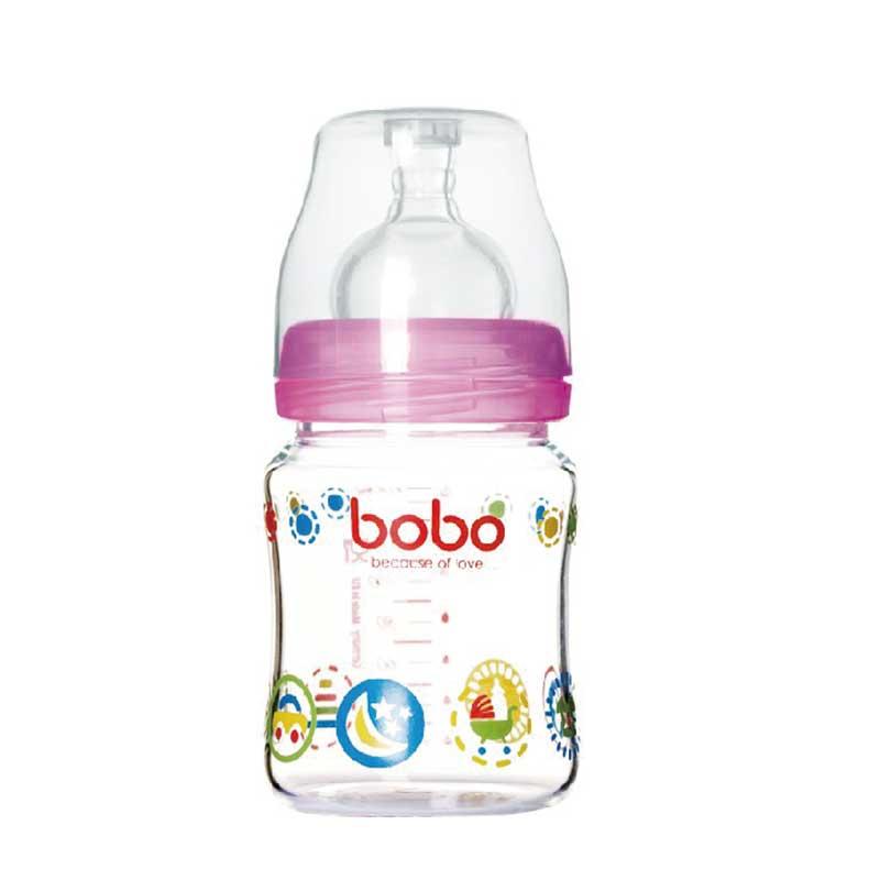 乐儿宝BOBO新生优晶宽口玻璃奶瓶160毫升宽口径小流量红色