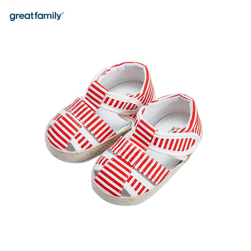 歌瑞家(greatfamily)女婴条纹宝宝鞋GB182-003SH红11CM双