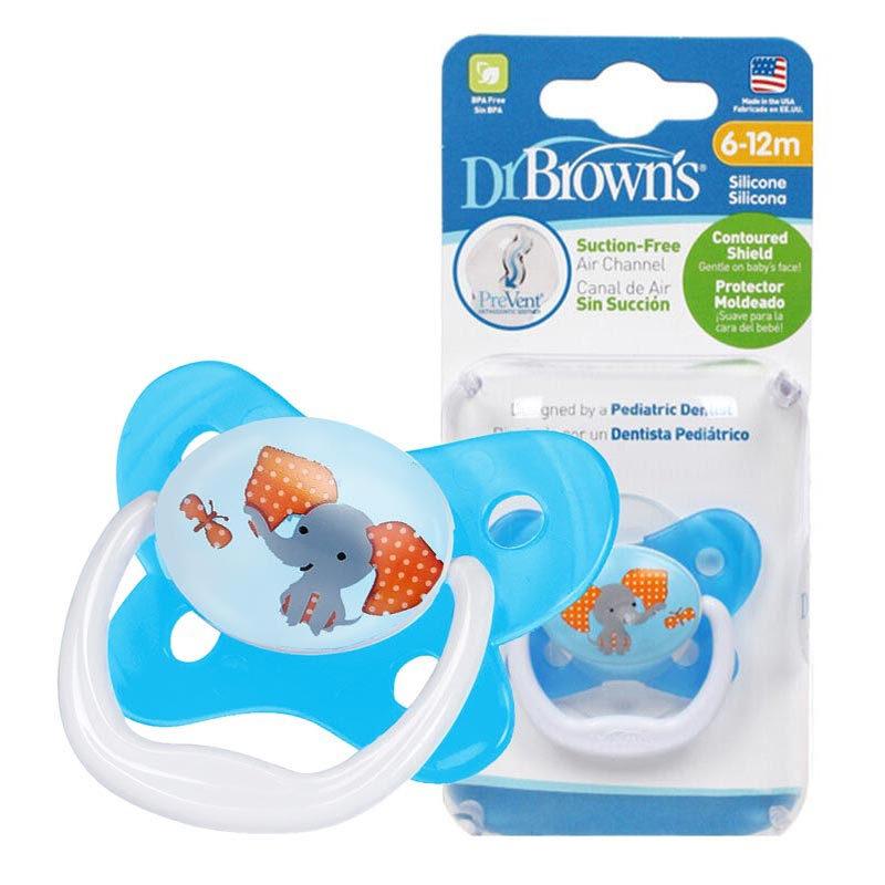 布朗博士DrBrown's蝴蝶形舒适安抚奶嘴6-12个月蓝色