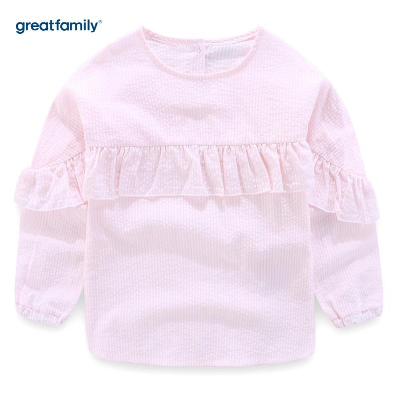 歌瑞家A类可爱精灵粉色女梭织衬衫