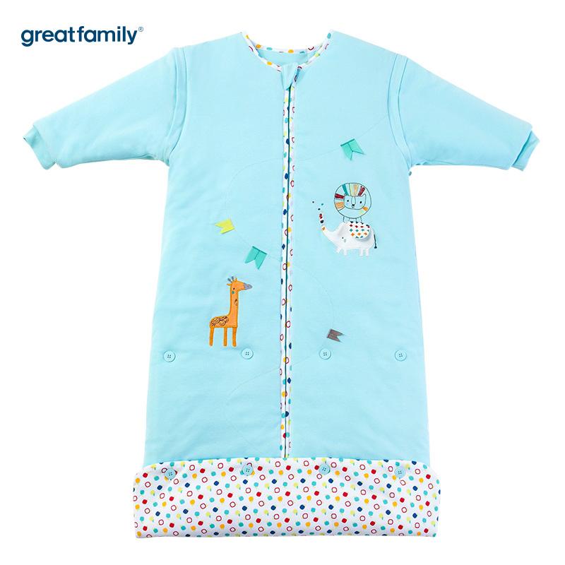 歌瑞家(Greatfamily)A类针织加棉可调节睡袋动物乐园款蓝色45*(80-90cm)
