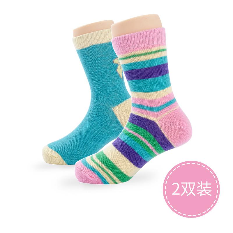 歌瑞贝儿精梳棉炫彩条纹袜2双装