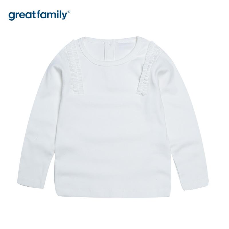 歌瑞家A类时尚宝贝白女T恤花边上衣