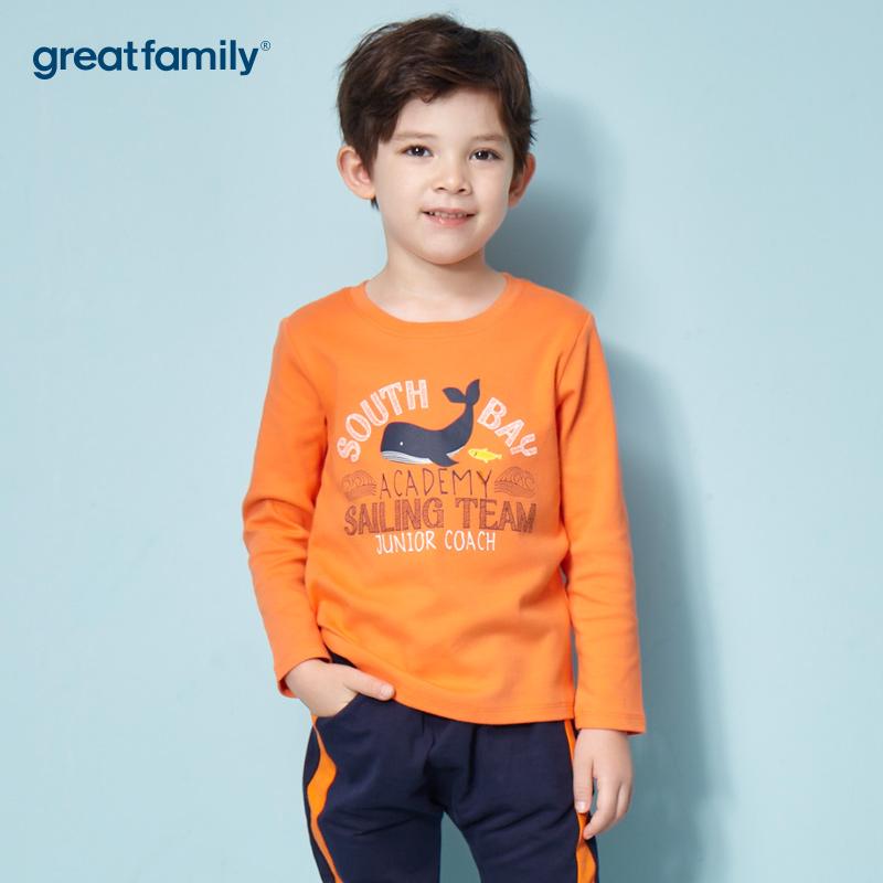 歌瑞家A类双面布男宝宝橙色T恤