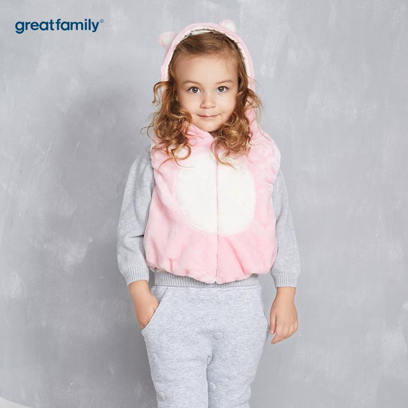 歌瑞家(Greatfamily)A类女宝宝粉色剪毛夹棉造型马甲