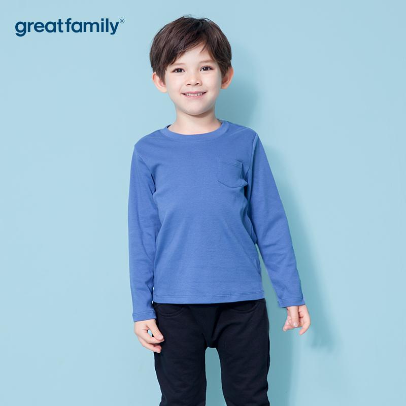 歌瑞家A类双面布男童蓝色T恤