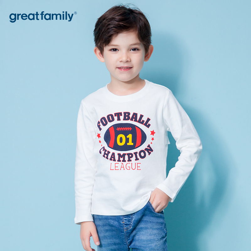歌瑞家A类双面布男宝宝白色T恤