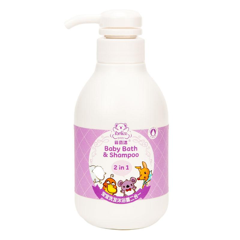 Forlisa菲丽洁宝宝洗发沐浴露二合一360ml天然植物精油配方让宝宝爱上洗澡澡天然氨基酸清洁成分不刺激宝宝娇嫩肌肤。