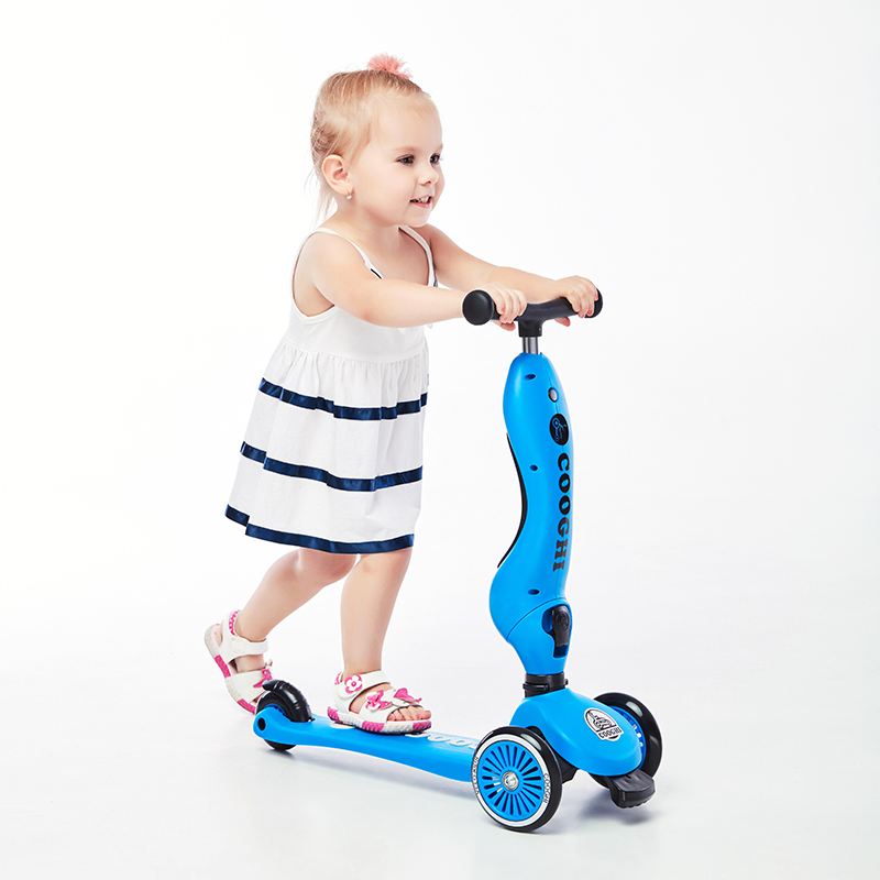 COOGHI酷骑Veli Kids1维乐宝贝多功能二合一滑板车学步车 蓝色