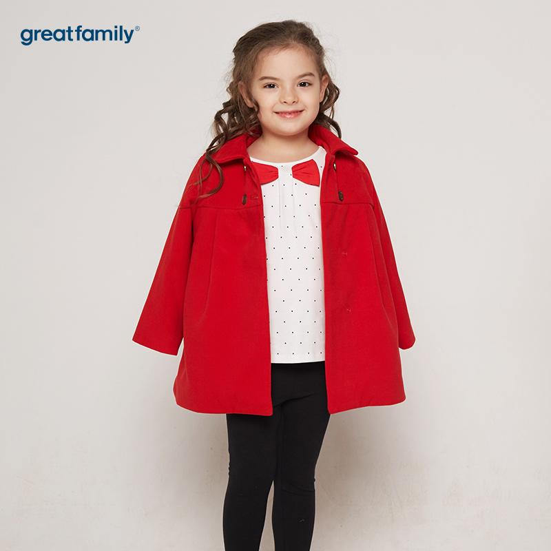 歌瑞凯儿(新)A类新年系列红色女童翻领梭织外套