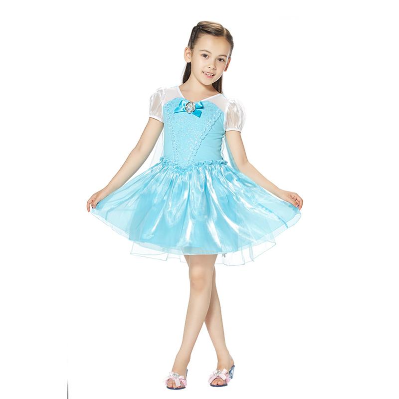 迪士尼艾莎公主连衣裙孔雀蓝