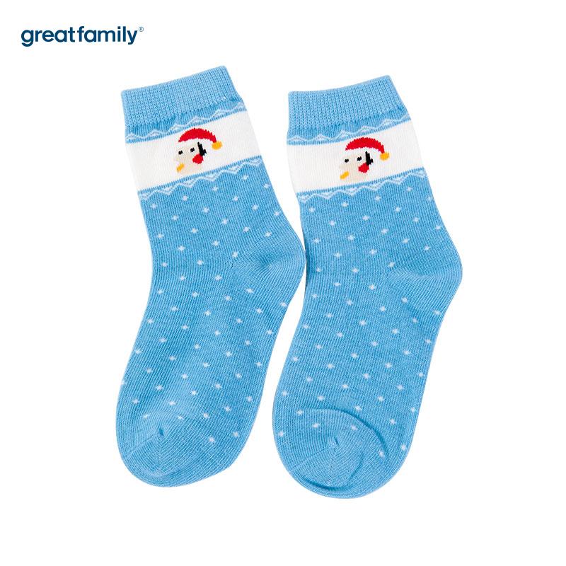 歌瑞家(Greatfamily)A类蓝色纯棉男童中袜