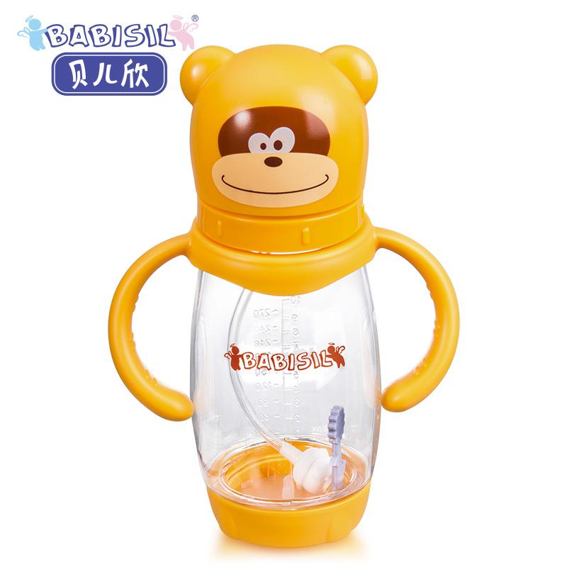 贝儿欣Babisil10oz欣欣猴PA宽口径防胀气感温奶瓶300ml轻盈通透感温设计