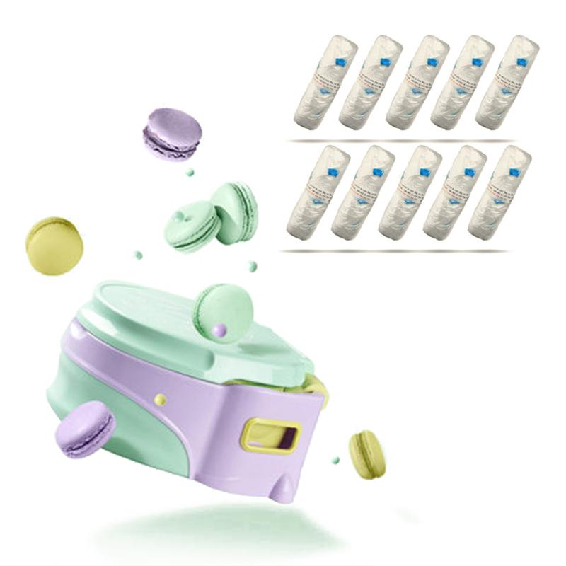 8010儿童便携坐便器绿色(6-72月)加8012清洁袋50只装