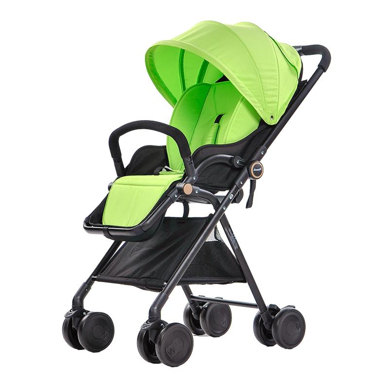 pouch婴儿推车超轻便携高景观可坐可躺避震伞车折叠宝宝婴儿车夏A06 苹果绿