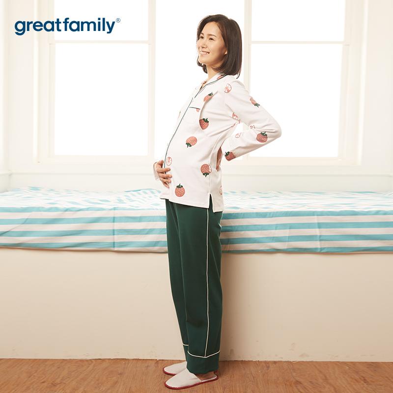 歌瑞家A类时尚开襟长袖套装睡衣家居服孕妇孕妈