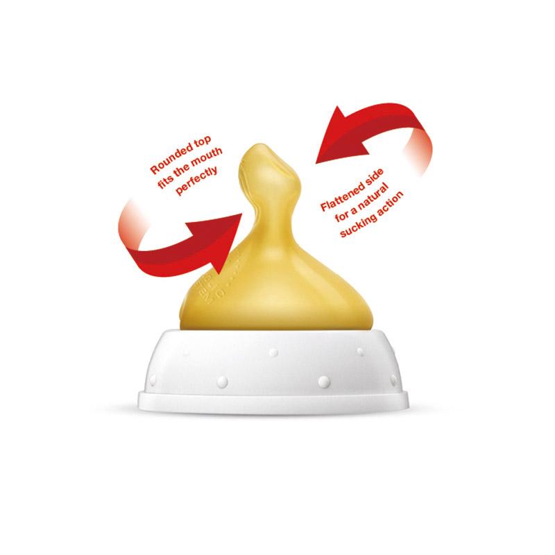 NUK新宽口乳胶通气仿真奶嘴王1号/0至6个月中圆孔两个卡装