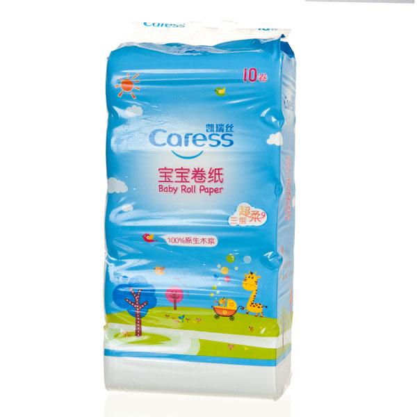 凯瑞丝Caress宝宝卷纸长条无芯10卷