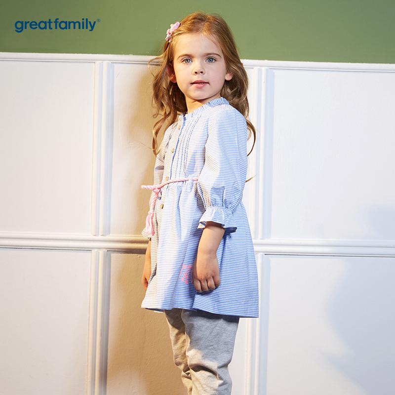 歌瑞凯儿(新)A类可爱精灵蓝色女童衬衫裙