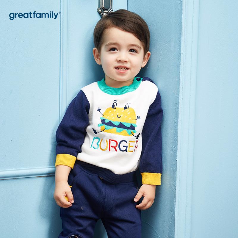 歌瑞家(Greatfamily)A类男宝宝混色纯棉圆领针织衫
