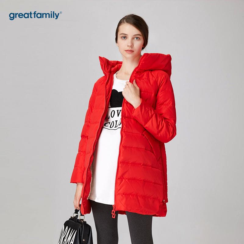 歌瑞家(greatfamily)红色连帽羽绒服