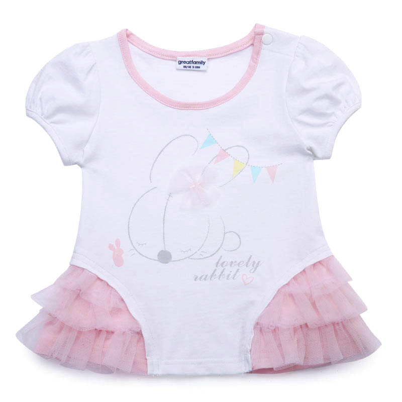 歌瑞家A类女宝宝白色小兔子T恤