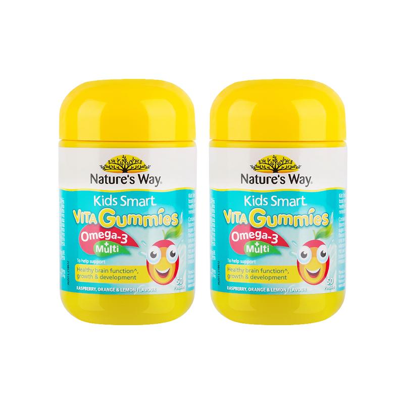 【全球购】佳思敏Nature's way儿童OMEGA-3复合维生素软糖50粒*2瓶