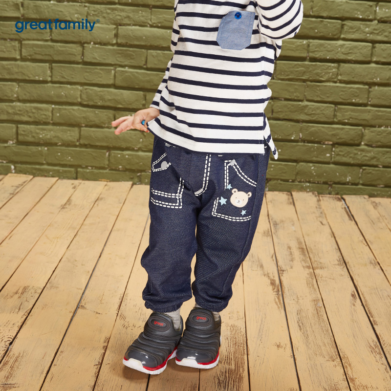 歌瑞家(Greatfamily)A类男宝宝牛仔色纯棉针织牛仔PP裤