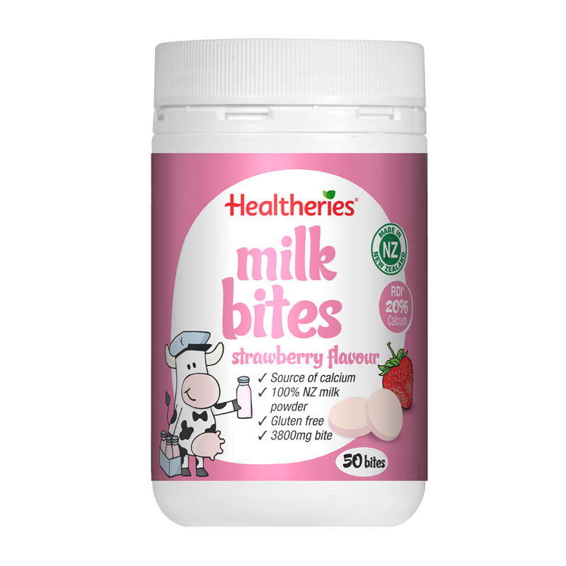 Healtheries贺寿利牛奶咀嚼片奶片乳片 草莓味 50片