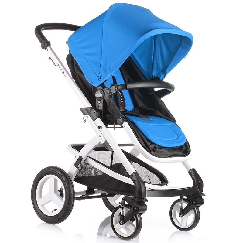 Pouch婴儿车推车轻便高景观可躺可坐避震手推车可折叠宝宝童车  E89 蓝黑