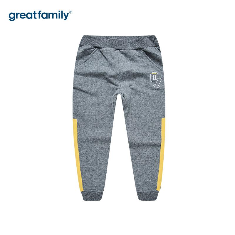 歌瑞家A类毛圈男童灰色针织长裤
