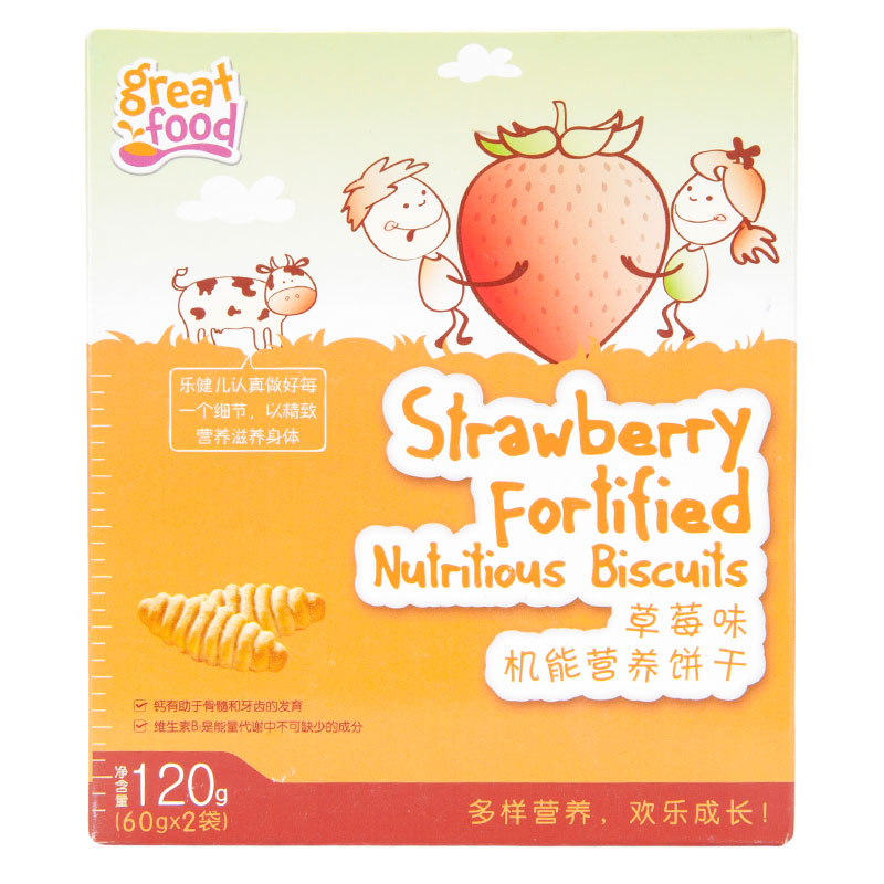 乐健儿GreatFood草莓味机能牛奶营养饼干120g/盒