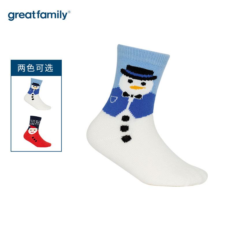 歌瑞家A类混色圣诞雪人男童中筒袜