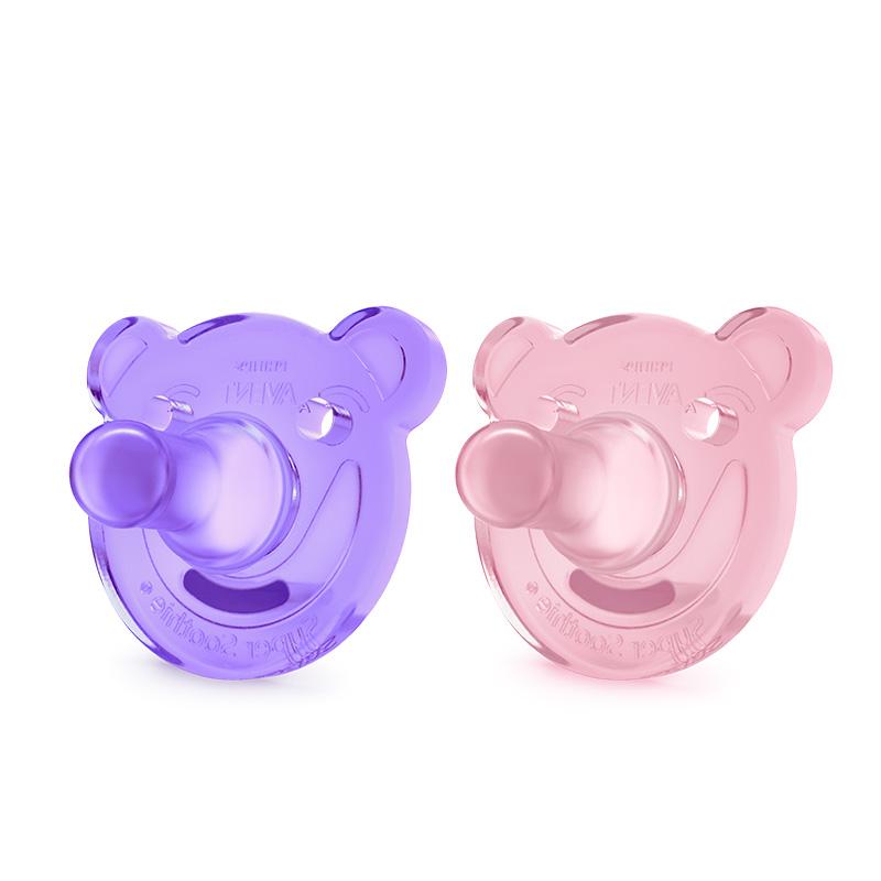 飞利浦新安怡全硅胶柔软安抚奶嘴(3个月+)粉/紫对装