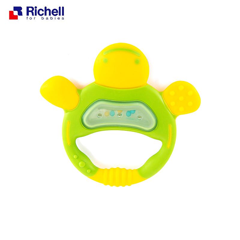利其尔Richell可爱龟牙胶(绿色)附固定夹