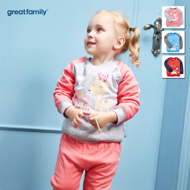 歌瑞家(Greatfamily)A类女宝宝灰色纯棉夹棉原领卫衣