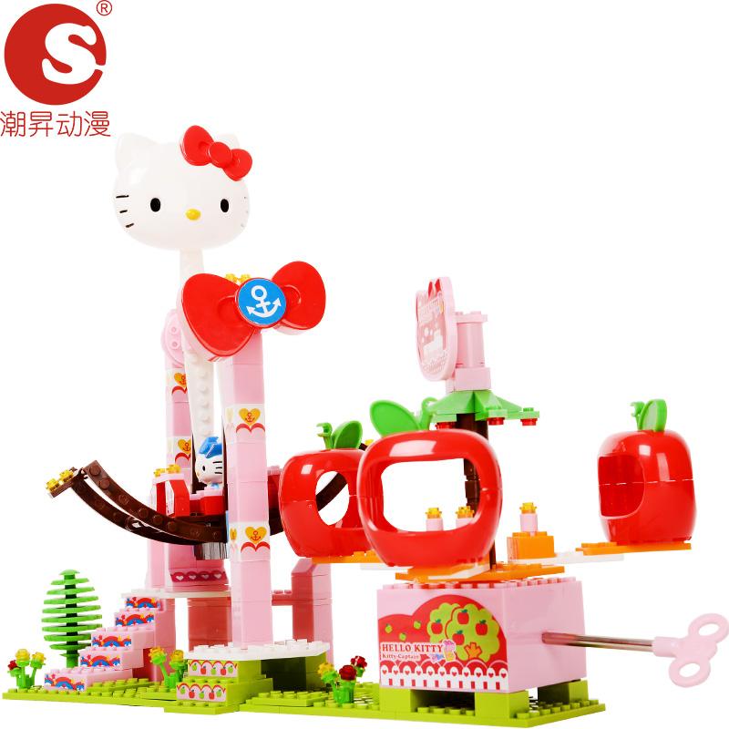 潮昇动漫儿童玩具女孩塑料拼插积木冲天海盗船(音乐版)